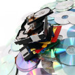 Hdd, floppy, dvd and cd-rom data background — Stock Photo #5731601