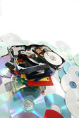 Hdd, floppy, dvd and cd-rom data background — Stock Photo