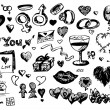 Love and valentine icons — Stock Photo
