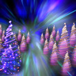 Christmas forest from the color lights — Stock Photo #6233147