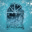 Christmas background with snow flakes — Foto Stock