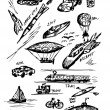 Hand drawn transportation icons - Image vectorielle