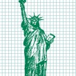 Hand drawn statue of liberty — Stock Vector