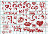 Love and valentine symbols — Stock Vector