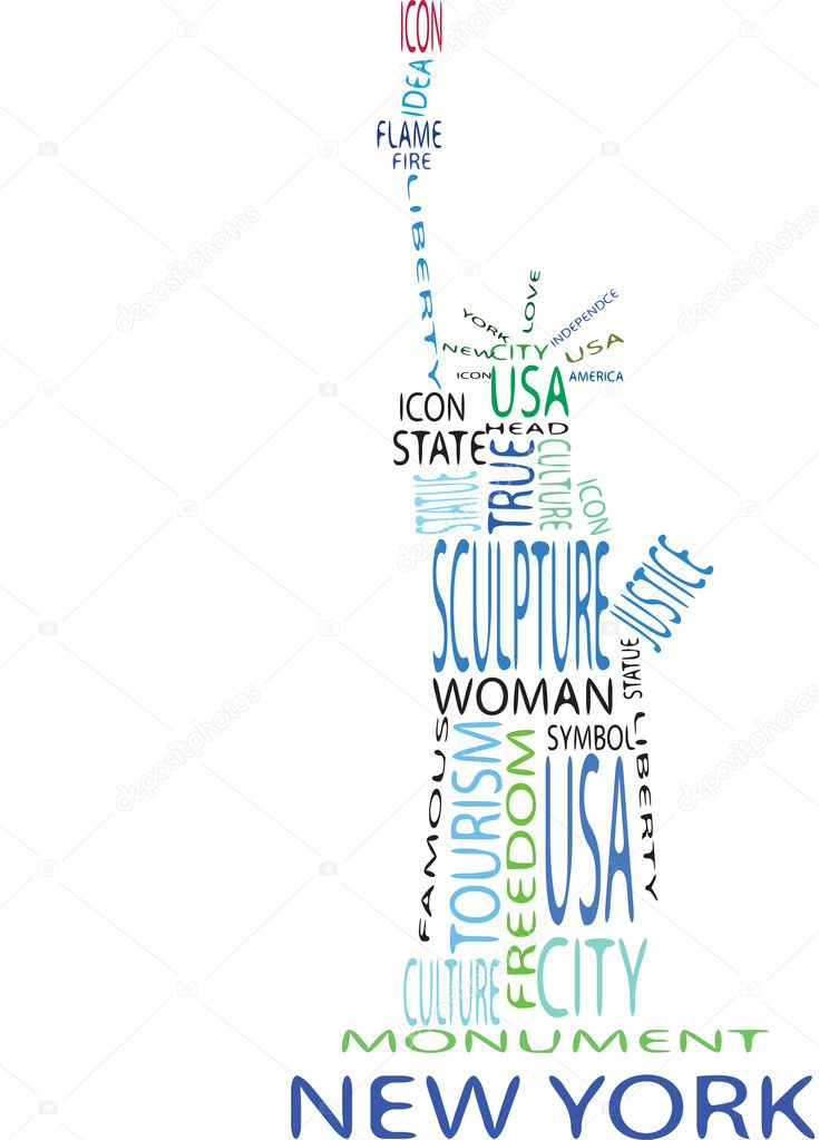 Statue of liberty from the words on the white background — Stock Vector #6386701