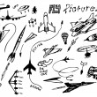 Stock Vector: Hand drawn flying vehicles icons