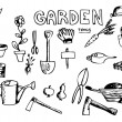 Hand drawn garden tools — Stock Vector