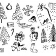 Hand drawn christmas icons — Stock Vector