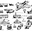Stock Vector: Hand drawn transportation icons