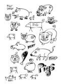 Mão desenhados porcos coleção — Vetor de Stock
