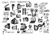 Hand drawn microstock symbols — Stock Vector