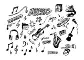 Hand drawn music objects — Stock Vector