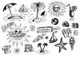 Objetos de verano dibujados a mano — Vector de stock