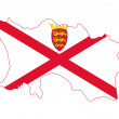 Jersey flag on map — Stock Photo