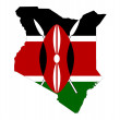 Kenya flag on map — Stock Photo