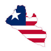 Liberia flag on map — Stock Photo