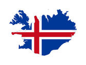 Iceland flag on map — Stock Photo