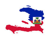 Haiti flag on map — Stock Photo