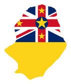 Niue Island flag on map — Stock Photo