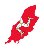 Isle of Man flag on map — Stock Photo