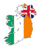 Ireland flag on map — Stock Photo