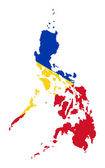 在地图上菲律宾国旗 — 图库照片