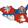 Pardubice flag and map of region - Stock Photo