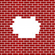 Stock Photo: Hole in red brick wall background