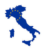 EU flag on map of Italy — Stock Photo