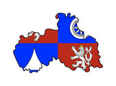 Liberec state flag and map — Stock Photo