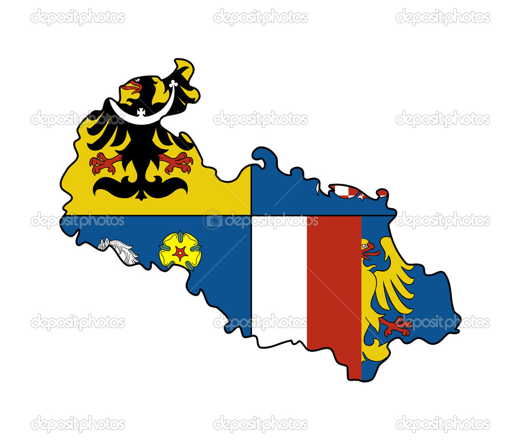 Flag of Moravia and Silesia region of Czech Republic on map; isolated on white background — Stock Photo #5466480