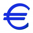 Blue Euro sign or symbol — 图库照片