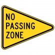 No passing zone sign — Stock Photo