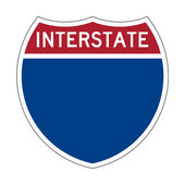 Blank Interstate Highway sign — Stock Photo