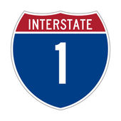 Interstate Highway 1 sign — Stock Photo