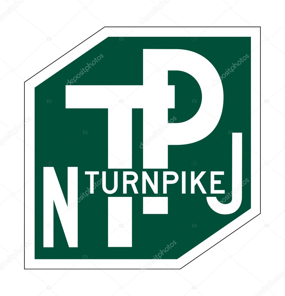 New Jersey Turnpike sign of shield isolated on white background.  Stock Photo #5586095