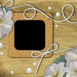 Vintage photo frames and white mallow - Stockfoto