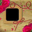 Vintage photo frames and roses — Foto de Stock