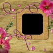 Royalty-Free Stock Photo: Vintage photo frames and pink mallow