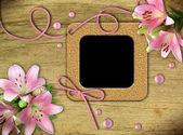 Cornici d'epoca e giglio rosa — Foto Stock