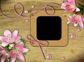 Vintage fotoğraf çerçeveleri ve pembe lily — Stok fotoğraf
