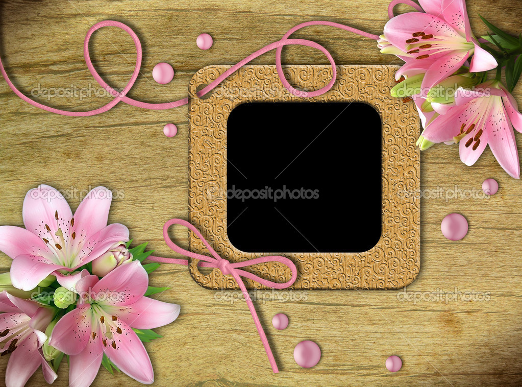 Vintage photo frames and pink lily on an old, cracked background       — Stock Photo #5912781