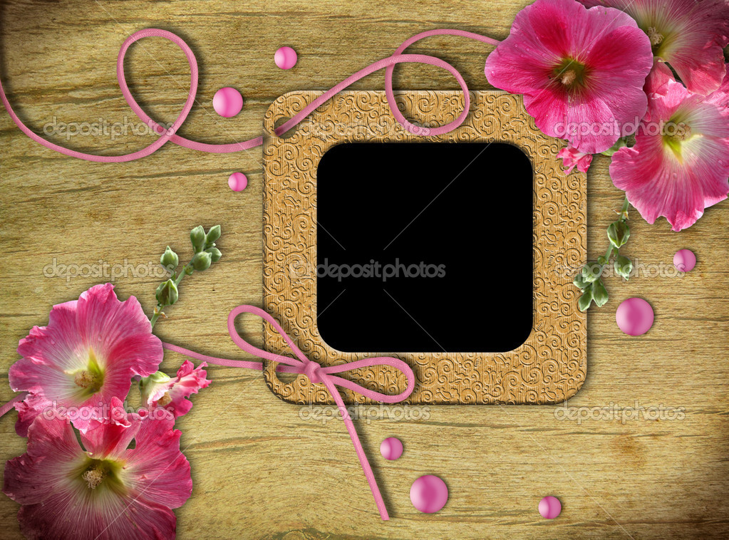 Vintage photo frames and pink mallow on an old, cracked background       — Stock Photo #5913528