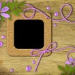 Vintage photo frames and lilac flowers — Stock Photo