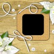 Vintage photo frames and tropical flower — Stock Photo