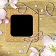 Vintage photo frames and quince tree flowers — Stock Photo