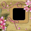 Vintage photo frames and pink lily — Stok fotoğraf