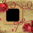 Vintage photo frames and roses - Stock Photo