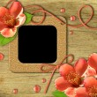 Vintage photo frames and flowers orange — Stock Photo