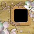 Vintage photo frames and roses - Stockfoto